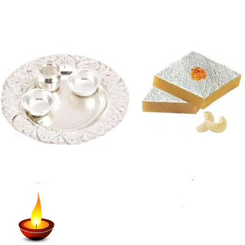 German Silver Thali With Kaju Katli - 11026