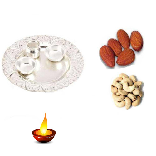 German Silver Thali With Kaju & Badam - 11047 - UK Delivery