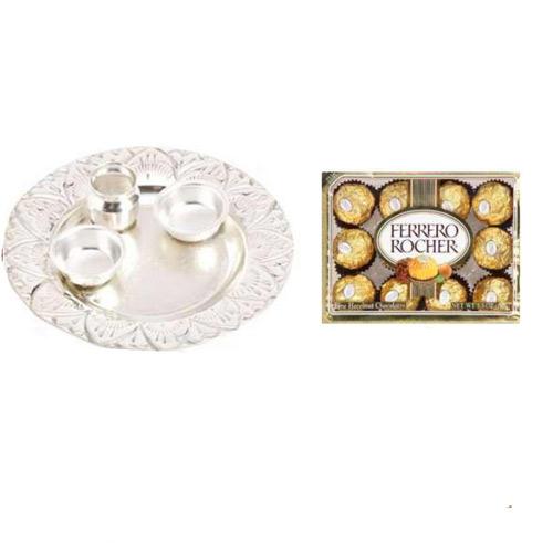 German Silver Thali & Ferroro Rochers - 11059