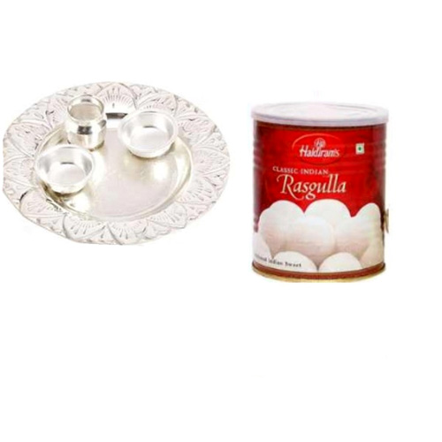 German Silver Thali With Rasgulla - 11061- India Delivery only