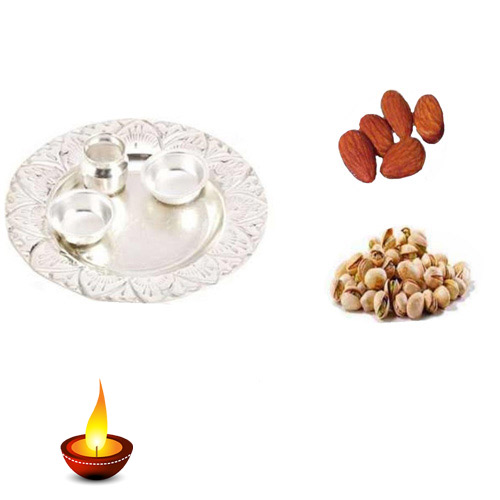 German Silver Thali With Pista & Badam - 11062 - UK Delivery
