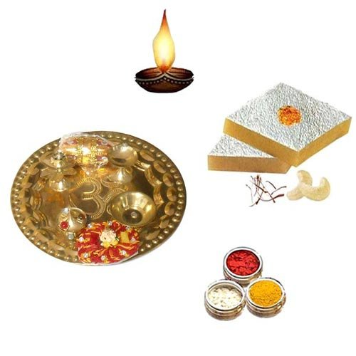 Brass Pooja Thali with Kaju Katli - 11065 - UK Delivery