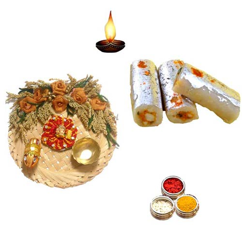 Cane Pooja Thali With Kaju Rolls - 11067 - UK Delivery