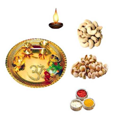 Brass Pooja Thali With Dry Fruit - 11069 - Singapore Delivery