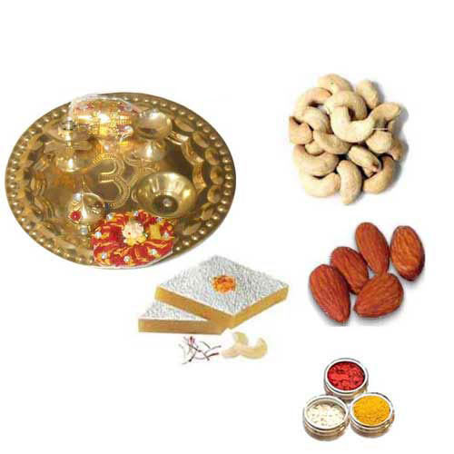 Brass Thali With Sweets & Dry fruits - 11070 - UK Delivery