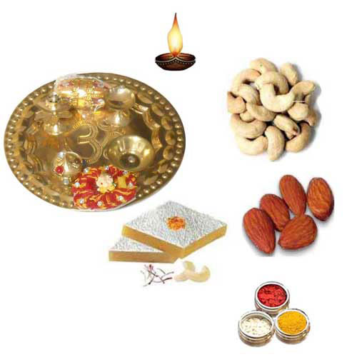 Brass Thali With Sweets & Dry fruits - 11070 - Canada Delivery