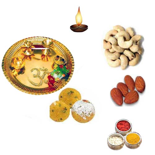 Brass Pooja Thali With Besan Shahi Ladoo - 11071 - Singapore