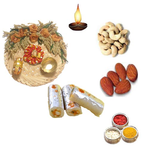 Cane Pooja Thali With Sweets & Dry Fruits - 11072 - UK Delivery