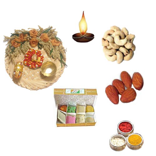 Cane Thali With Sweets & Dry Fruits - 11073 - Australia Delivery