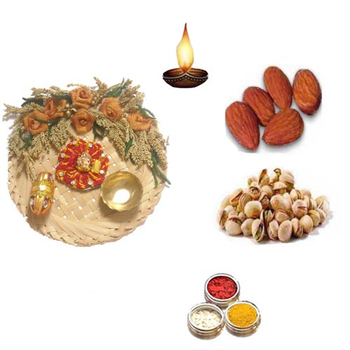 Cane Pooja Thali With Dry Fruits - 11074 - UK Delivery