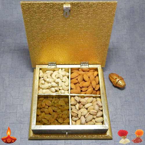 Square White Metal Box With Dryfruits - UAE Delivery Only