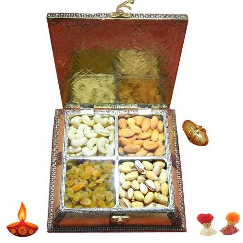Designer White Metal Dryfruit Box - USA Delivery Only
