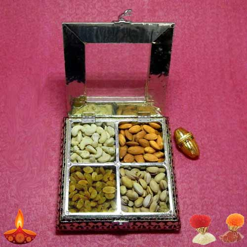 Designer Square White Metal Box With Dryfruits