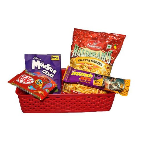 Basket With Chocolates & Namkeen - UK Delivery Only