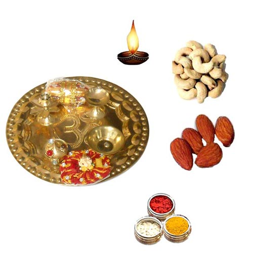 Brass Pooja Thali With Dry Fruits - 11068 - UK Delivery