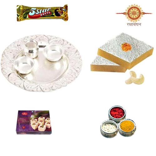 German Silver Thali Hamper with Sweets - Australia Delivery Only
