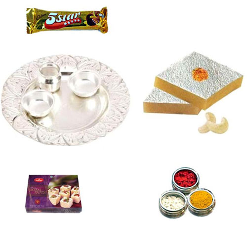 German Silver Thali Hamper with Sweets -Australia Delivery Only