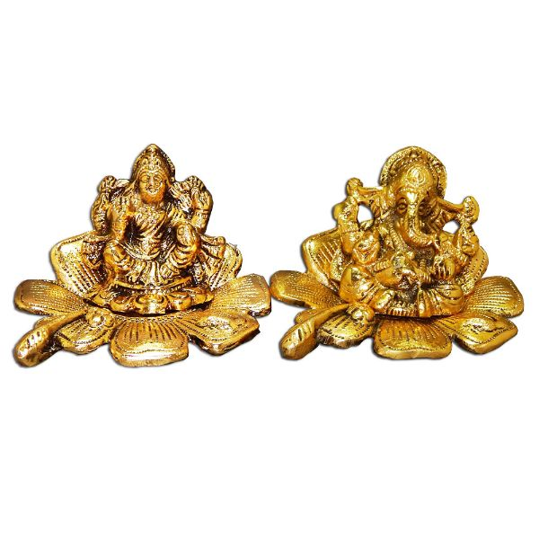 Lord Ganesh & Goddess Lakshmi On Lotus - USA Delivery Only