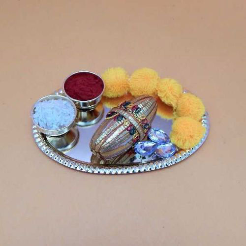 Small Puja Thali With Flowers - USA Delivery Only