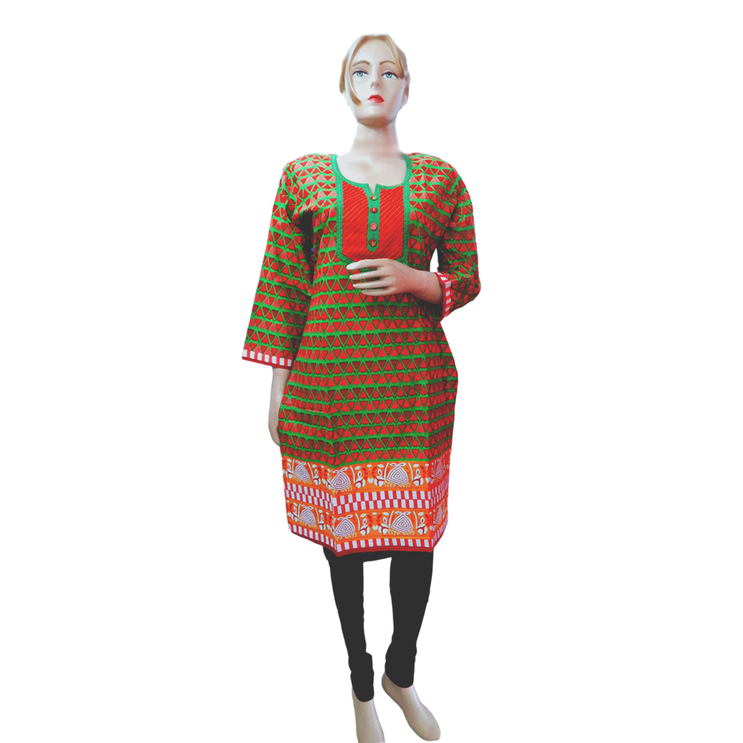 Round - Neck Cotton Kurti - 1