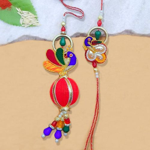 Engrossing Peacock Rakhi Lumba Set - USA Delivery Only