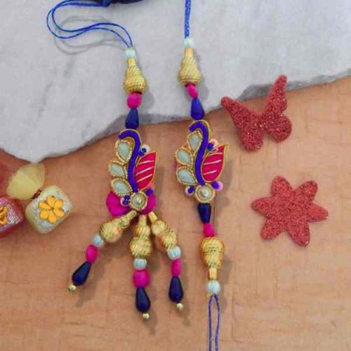 An eye-catching Rakhi Lumba Set - CANADA Delivery Only