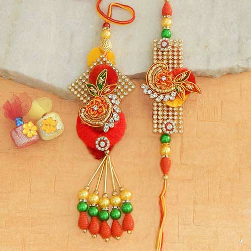 Charismatic Rakhi Lumba Set - 2 - CANADA Delivery Only
