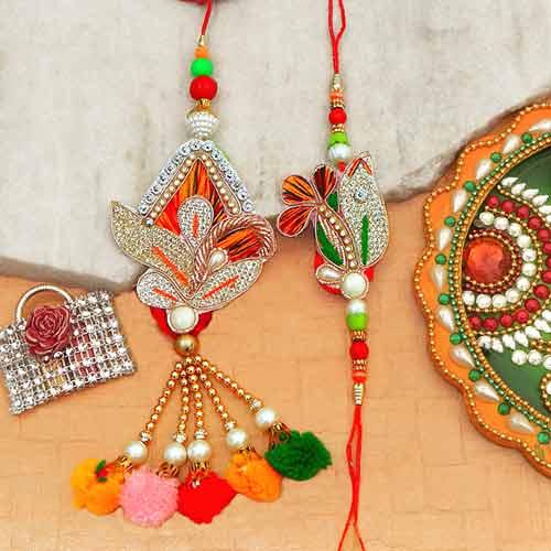Shimmering Rakhi Lumba Set
