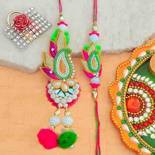 Charming Rakhi Lumba Set - UK Delivery Only