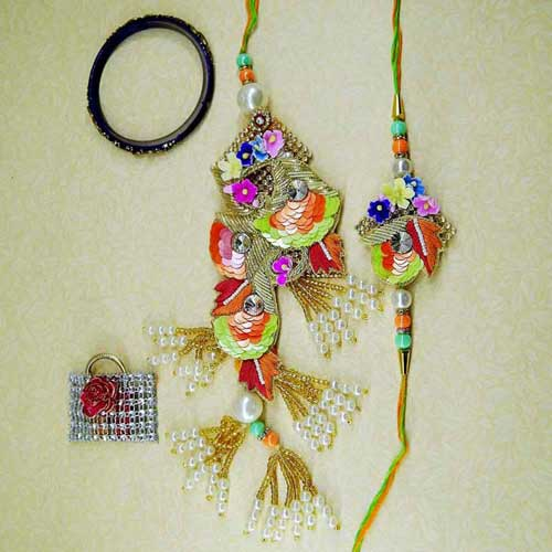 Beauteous Rakhi Lumba Set - UK Delivery Only