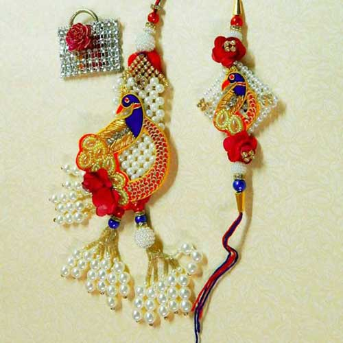 Angelic Peacock Rakhi Lumba Set - UK Delivery Only