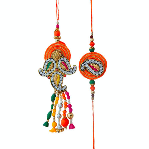 Dazzling Lumba Rakhi For Bhaiya-Bhabhi - USA Delivery