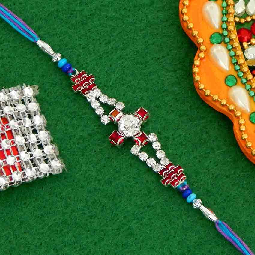 Fancy Diamond Cut Stone Rakhi - USA Delivery Only