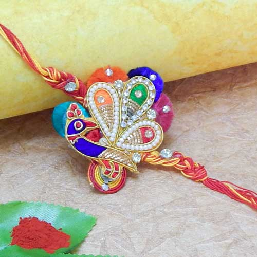 Magnifying Peacock Zardosi Work Rakhi - USA Delivery Only