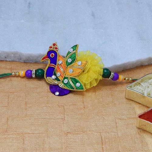 Enamelled Peacock Rakhi - USA Delivery Only
