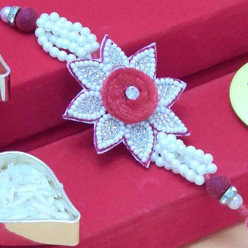 Flower Rakhi Embeded With Pearls & Beads - USA Delivery Only