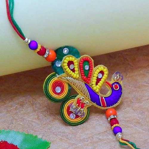 Peacock On Pearl Rakhi - USA Delivery Only