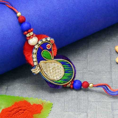 Invoking Peacock Rakhi - USA Delivery Only