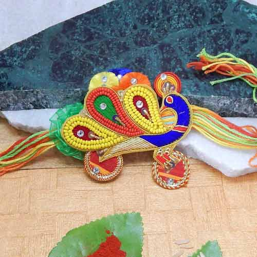 Radiant Peacock Rakhi - USA Delivery Only