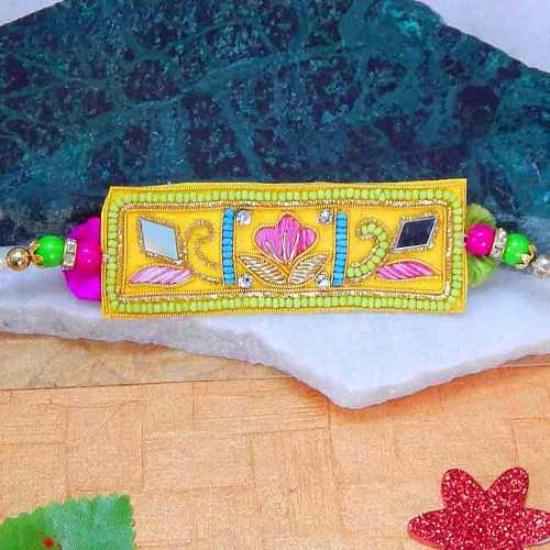 Howery Design Embeded Rakhi With Zardosi Work -USA Delivery Only