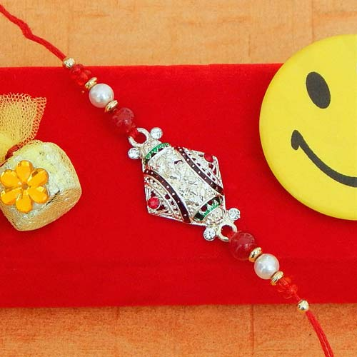White Metal Diamond Rakhi - UK Delivery Only