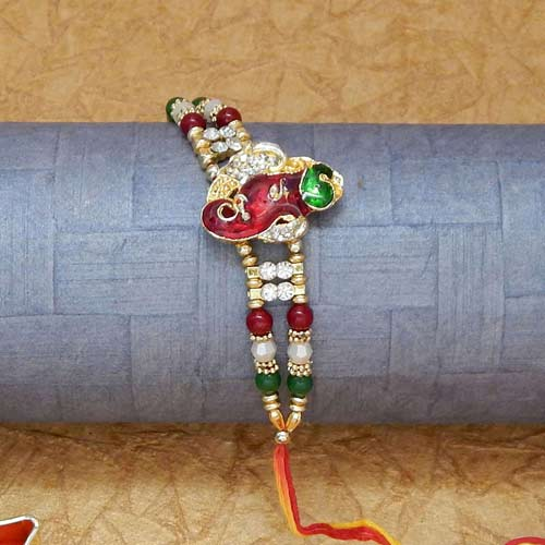 Lord Ganesha With Trunk Rakhi - USA Delivery Only
