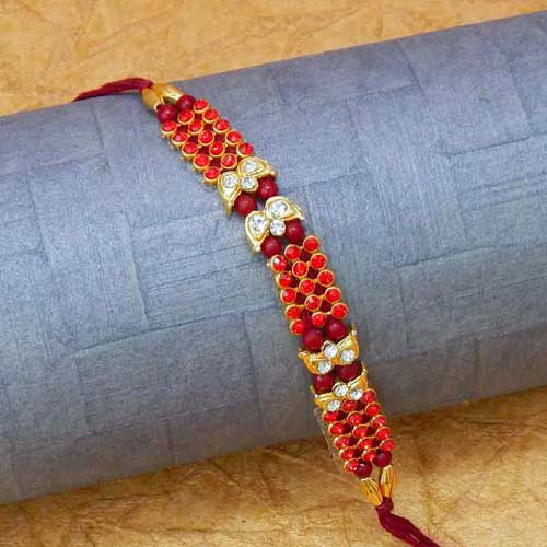 Vibrant Red Stones Rakhi - CANADA Delivery Only