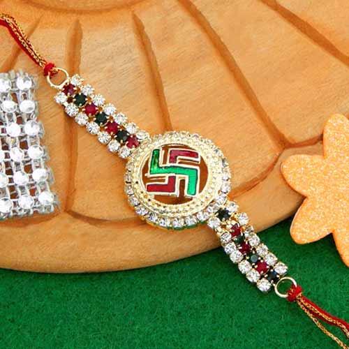 Spiritual Swastik Rakhi - USA Delivery Only