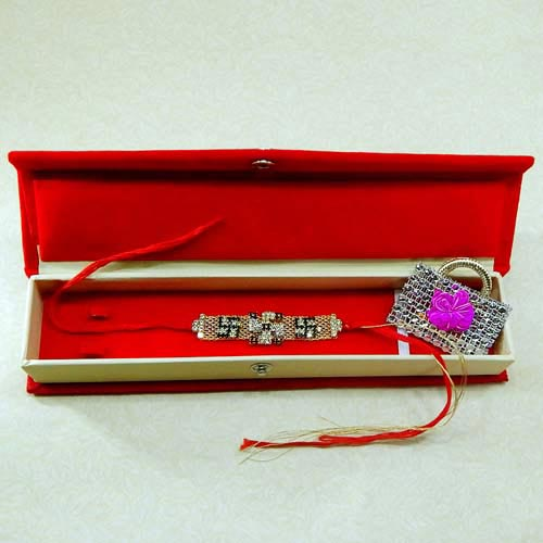 Exceptional Swastik Rakhi With Rakhi Gift Box - USA Delivery