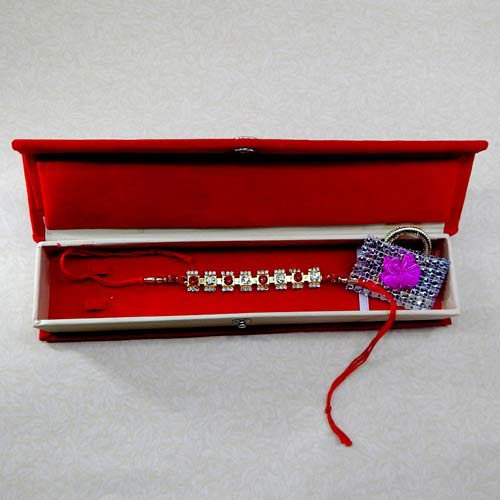 Pretty Crystal Rakhi With Rakhi Gift Box - USA Delivery Only