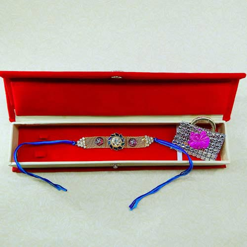 Splendid Floral Swastik Rakhi With Gift Box - USA Delivery Only