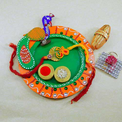 Peacock Wooden Puja Thali - UK Delivery Only
