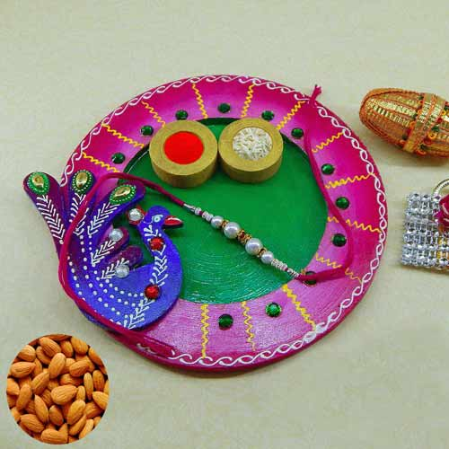 Exclusive wooden Puja thali with Almonds 200 grm. AUS Only