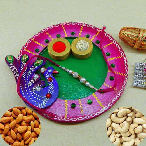 Exclusive wooden Puja thali with Kaju 100grm. & Badam 100grm.